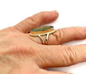 Koroit Opal in 14k Gold, Australian Opal Statement Ring