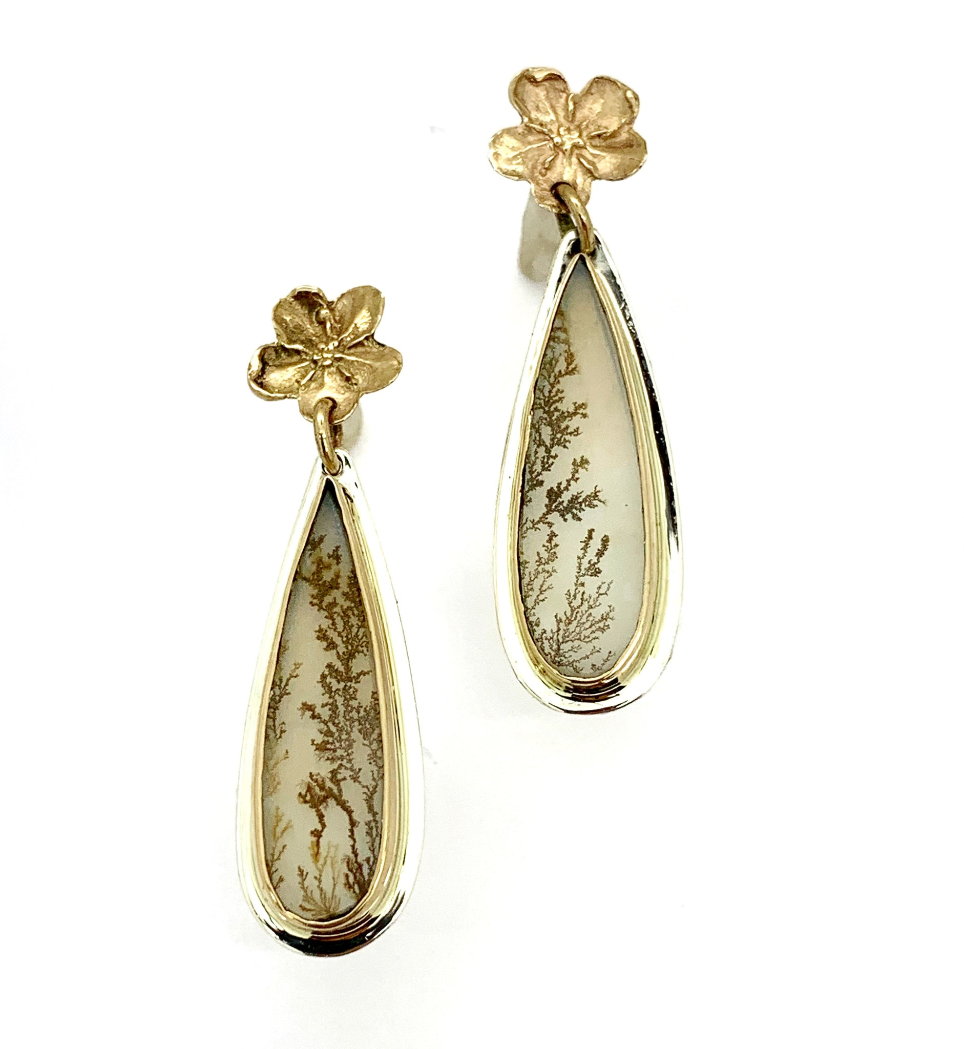 Dendritic Agate Earrings with 14k Gold Flowers