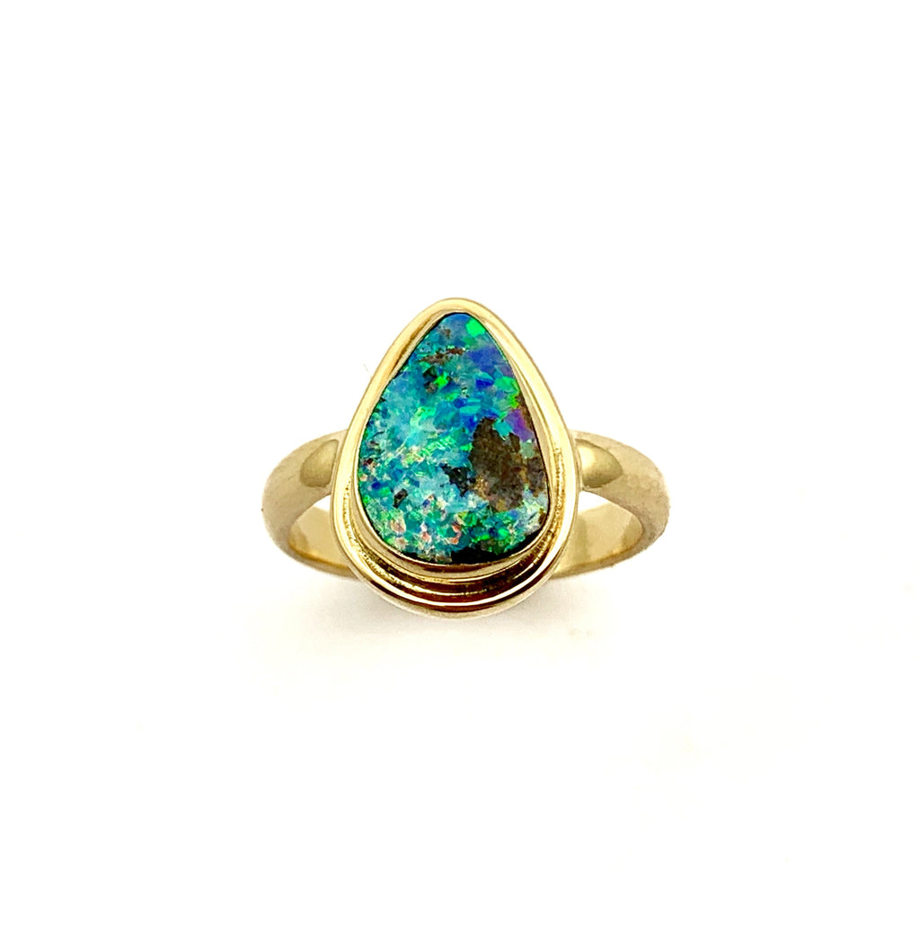 Australian Opal Set in 14k Yellow Gold Ring, Natural Solid Opal Statement Ring, Womens Opal Ring, October Birthstone Ring, Ladies Gold Ring