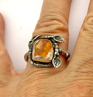 Cantera Opal with 14k Gold Bezel and  sterling twig band, Mexican opal garden ring