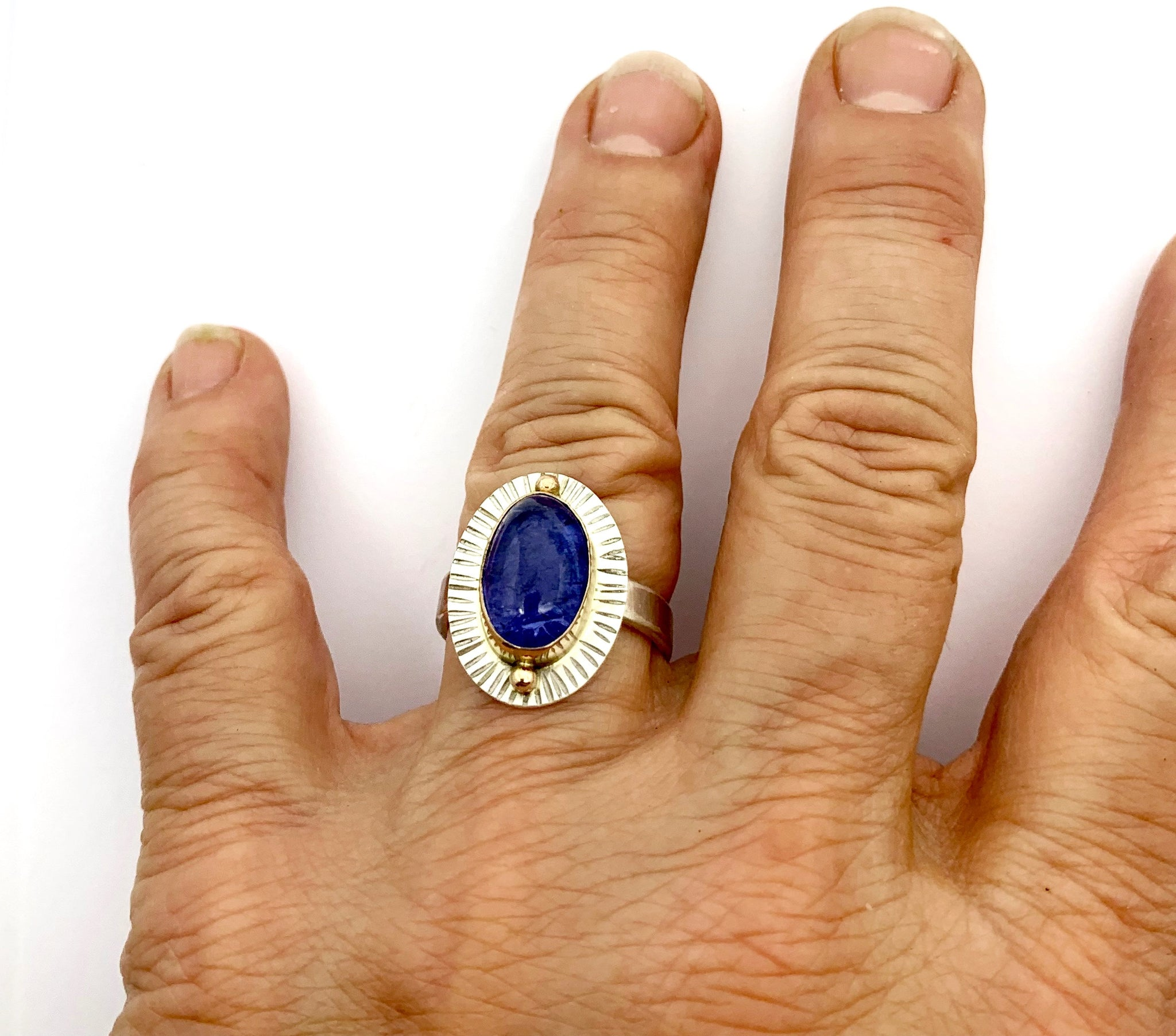 Tanzanite Ring with 14k bezel and details,  Tanzanite Ring in Gold and Silver, Gemstone Ring with