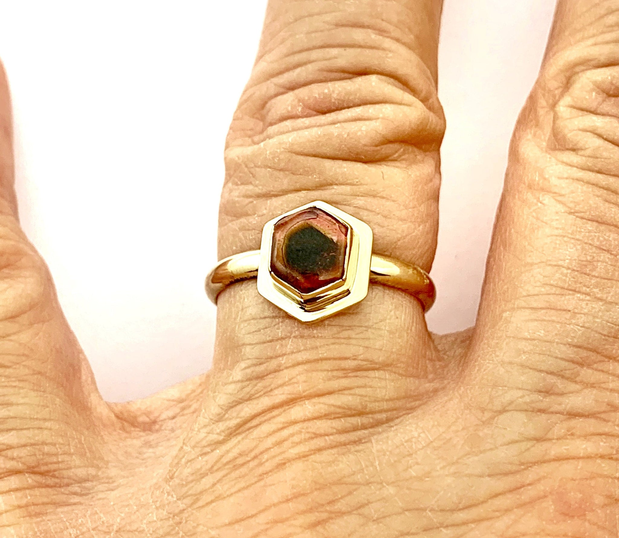 Watermelon Tourmaline Ring in 14k Gold, Gold October Birthstone Ring, Tourmaline Statement Ring