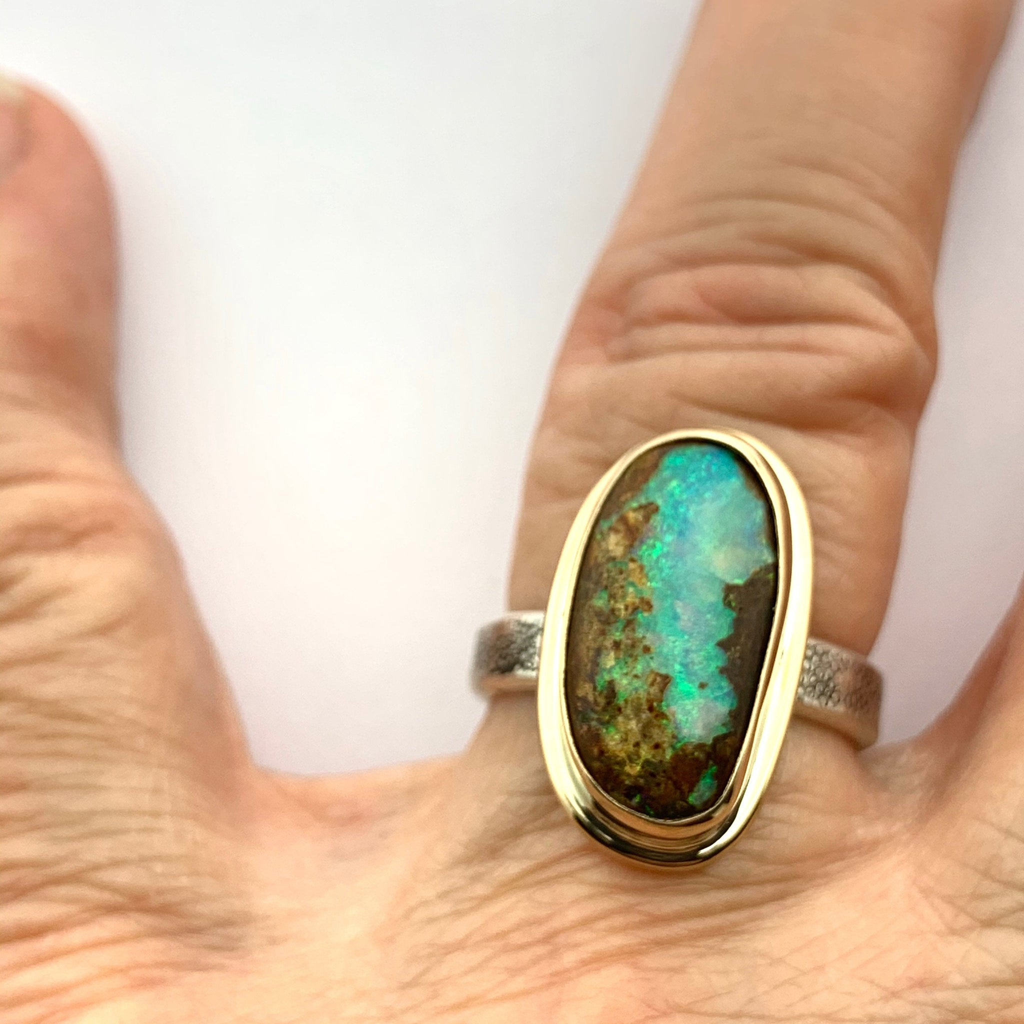 Australian Opal Ring in Gold and Silver, Freeform Opal Ring with Textured band