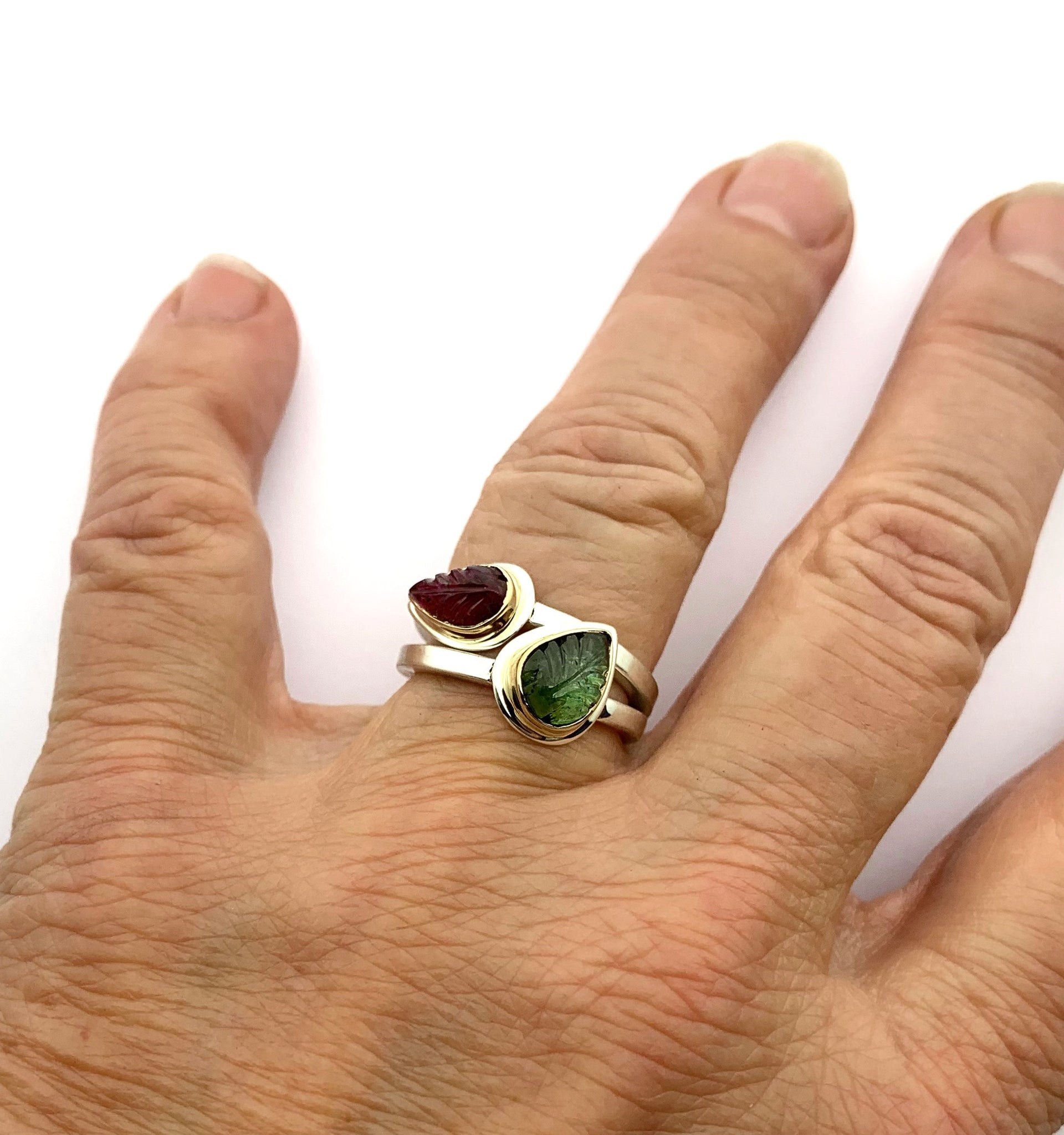 Tourmaline Leaf Rings, Stacking Rings with 14k Bezels, Silver and Gold Stone Rings