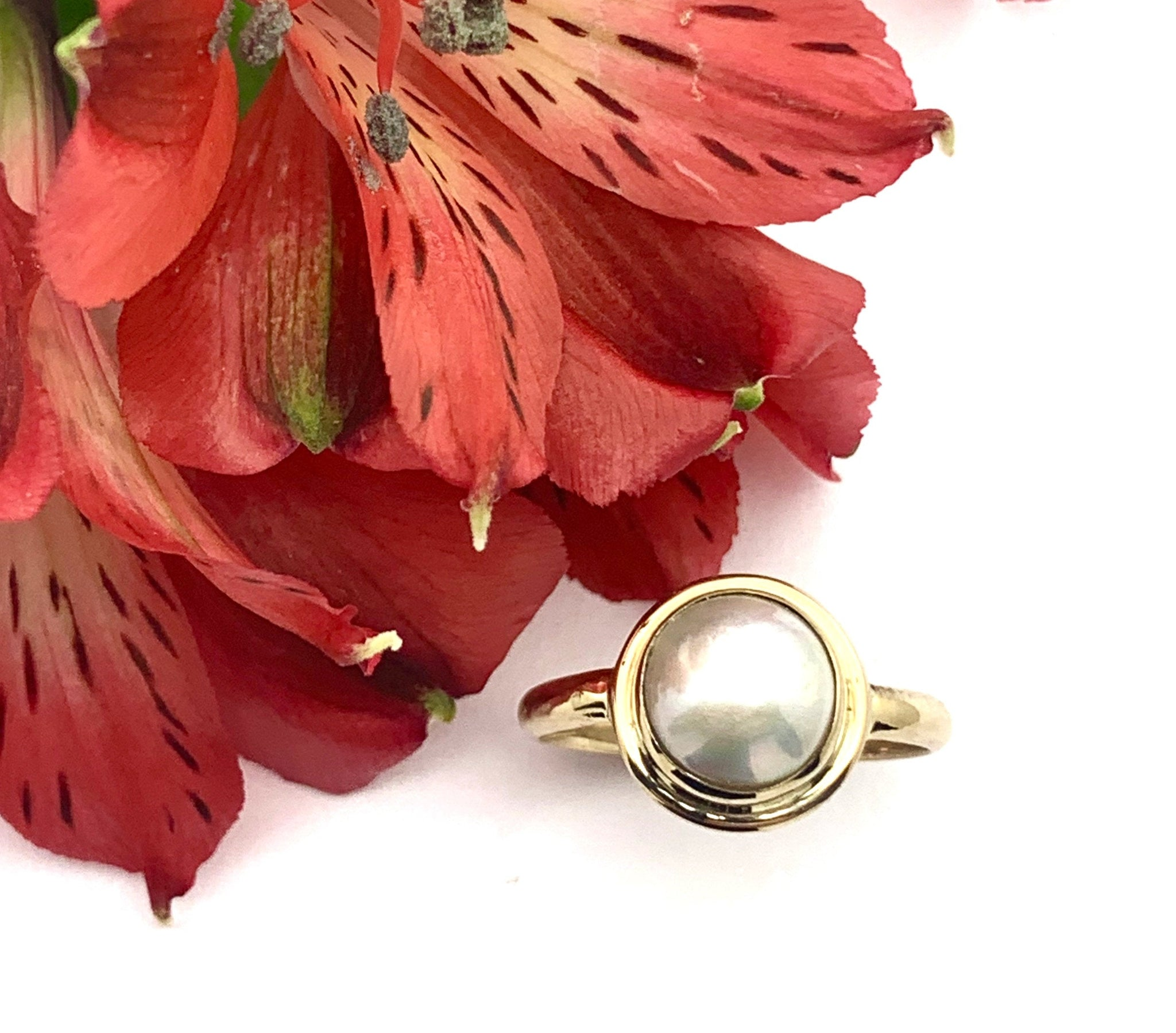 Mabe Pearl Ring in 14k, Gold Statement ring with pearl, Classic Blister Pearl Jewelry