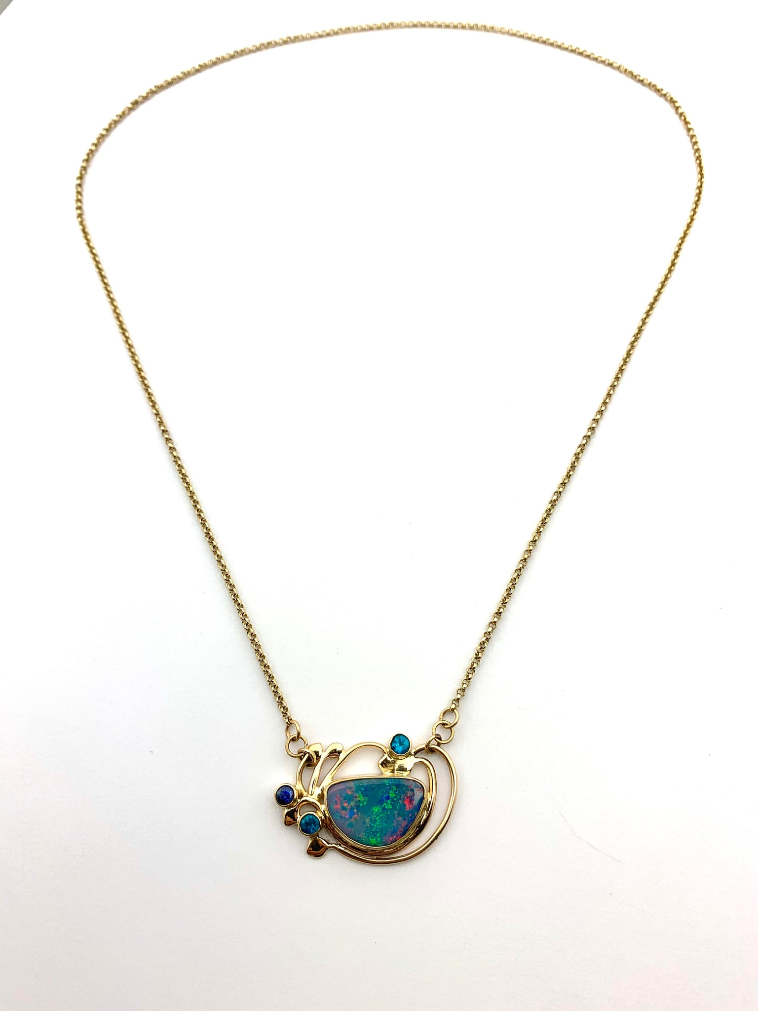 Australian Opal Necklace in 14k gold, Gold Solid Opal necklace with 14k chain, One of a kind Opal Necklace