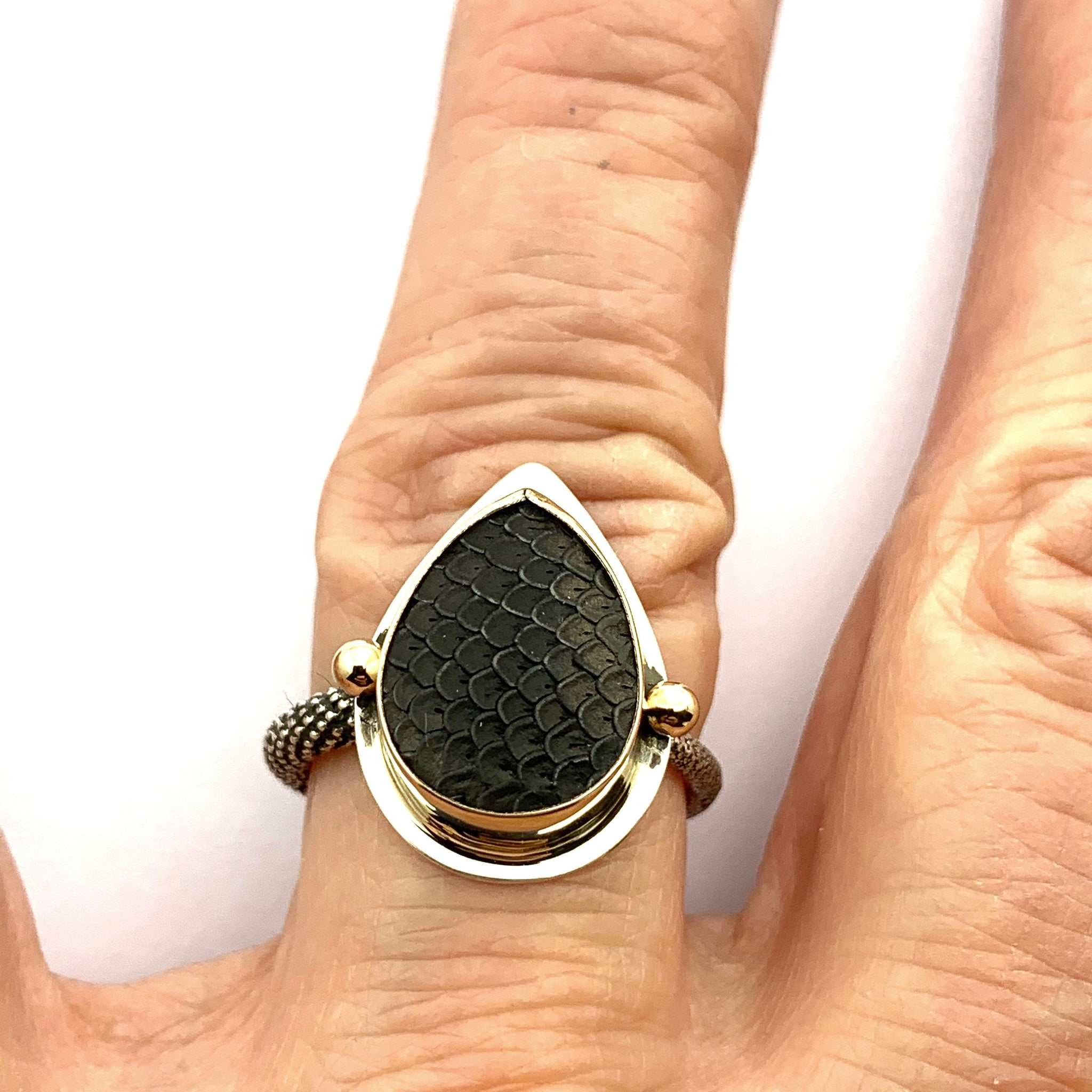 Snakeskin Agate Ring, Gold Ring, OOAK 14K ring, Statement Ring in 14k and Sterling Silver