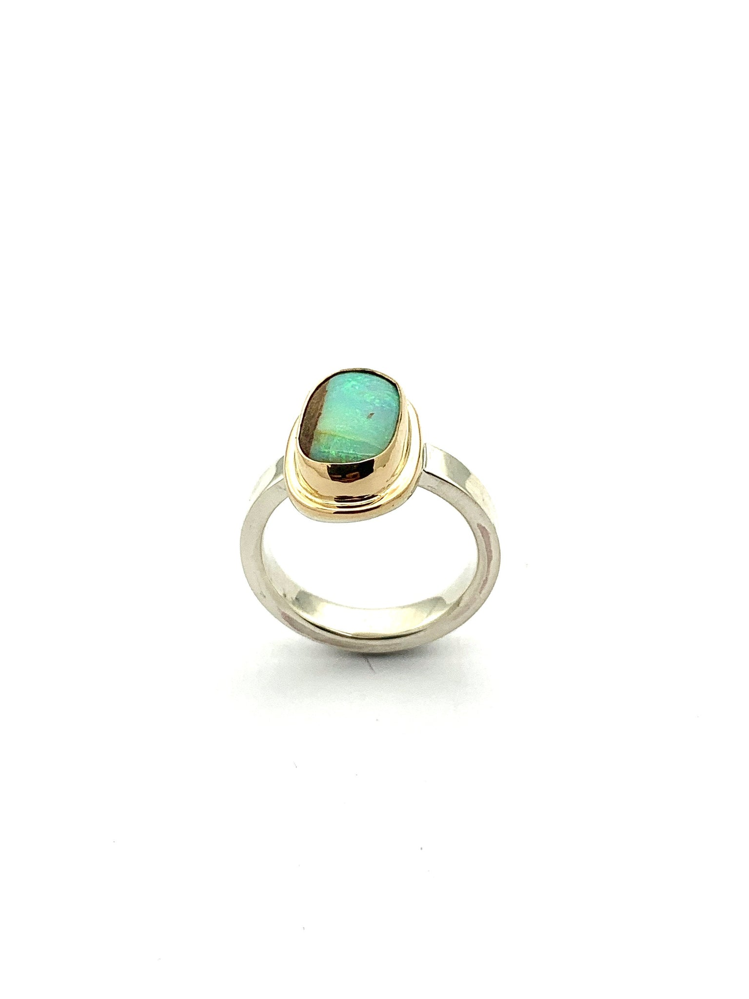 Australian Crystal Pipe Opal Ring, Opal Ring in 14k gold and Silver, Statement Opal Ring