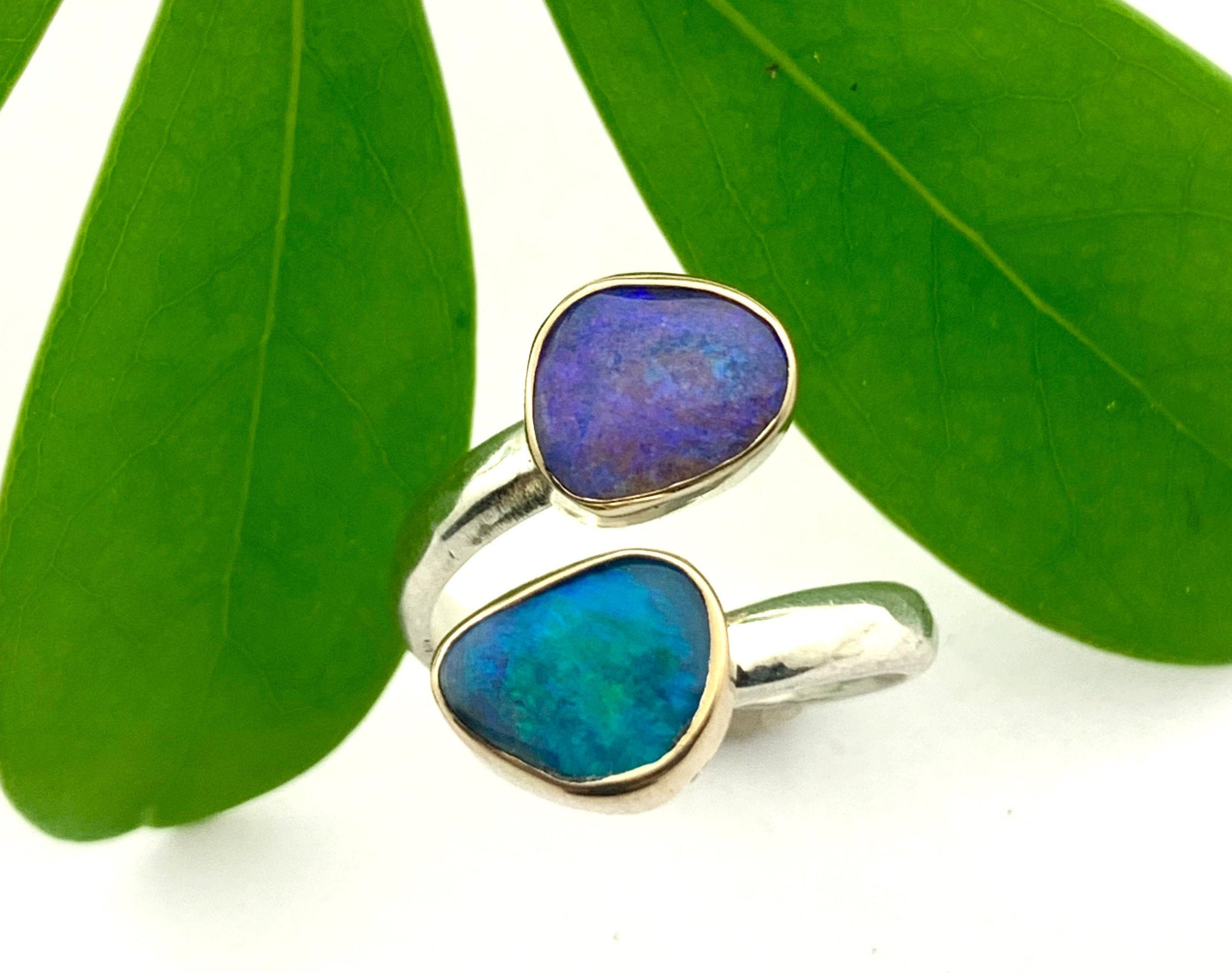 Double Australian Opal Ring, Gold and Silver Opal Ring, Adjustable Opal Ring, Womens October Birthday Gift, Ladies Adjustable Opal Ring