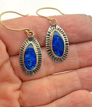 Australian Opal Earrings, Gold and Silver Blue Stone Earrings, Opal Drop Earrings