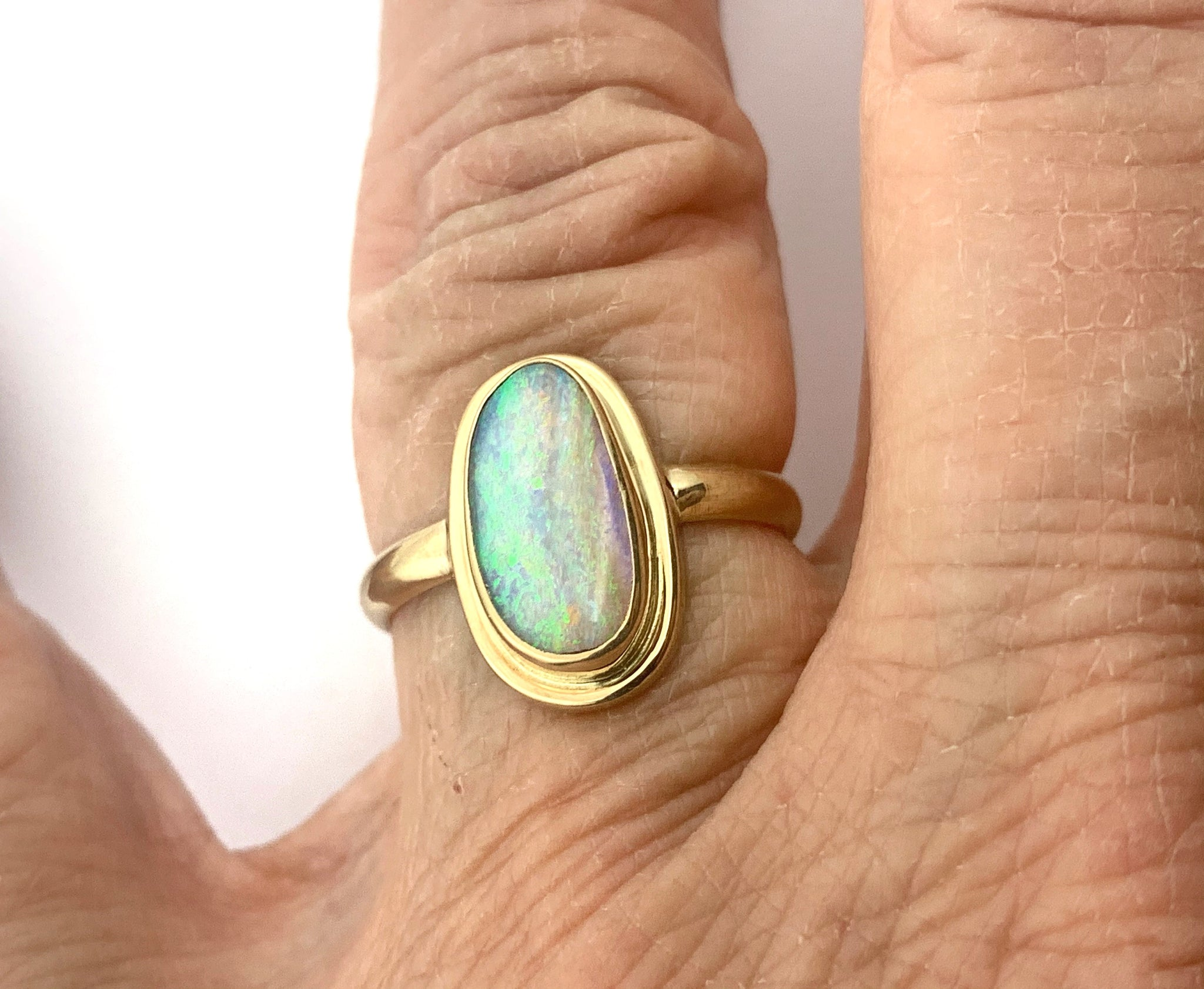 Australian Opal Gold Ring, Solid Opal in 14k, OOAK Statement Ring In Gold, Womens 14k Ring, October Birthday Present, Ladies Opal Jewelry