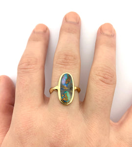 Opal Ring in 14k Gold,  Australian Opal Statement Ring, Gold Stone Ring
