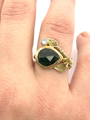 Gold Ring With Green Tourmaline and Diamond, 14k Boho ring with Tourmaline and .11 pt diamond, Green Tourmaline and Diamond Ring