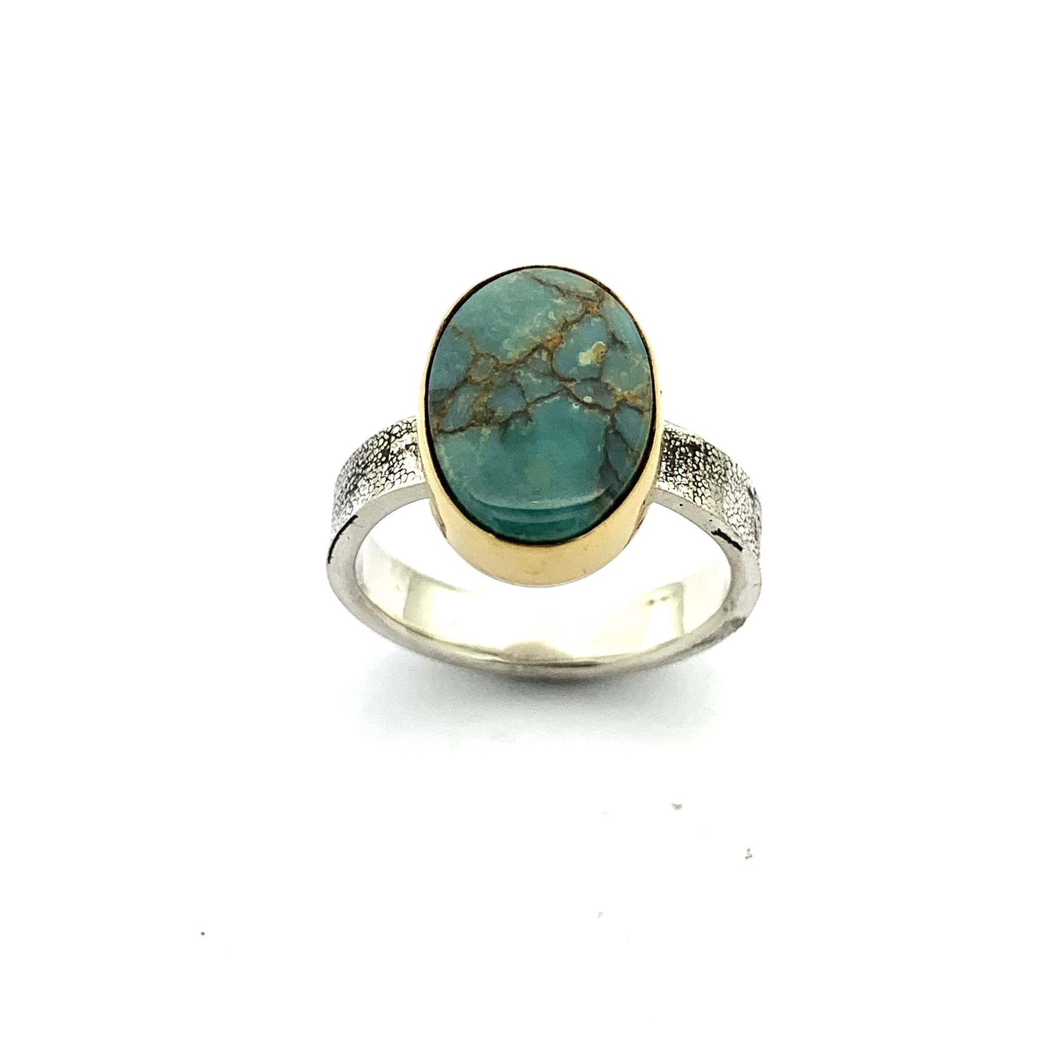 Seven Dwarfs and gold ring, 7D ring with gold setting, Variscite with gold and silver band, turquoise statement rings, Turquoise womens ring
