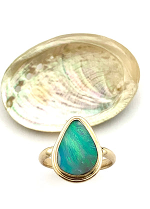 Australian Opal in 14k Gold, One of a Kind Opal ring, October Birthstone Jewelry, Womens Gold Ring, Ladies Ring, Blue Opal Ring, Mom Gift