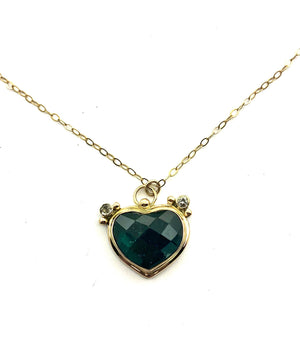 Blue Tourmaline Heart Pendant in 14k Gold and Sterling Silver, Valentine's Day Necklace, Green Blue Gemstone Necklace Gift, October Birthday