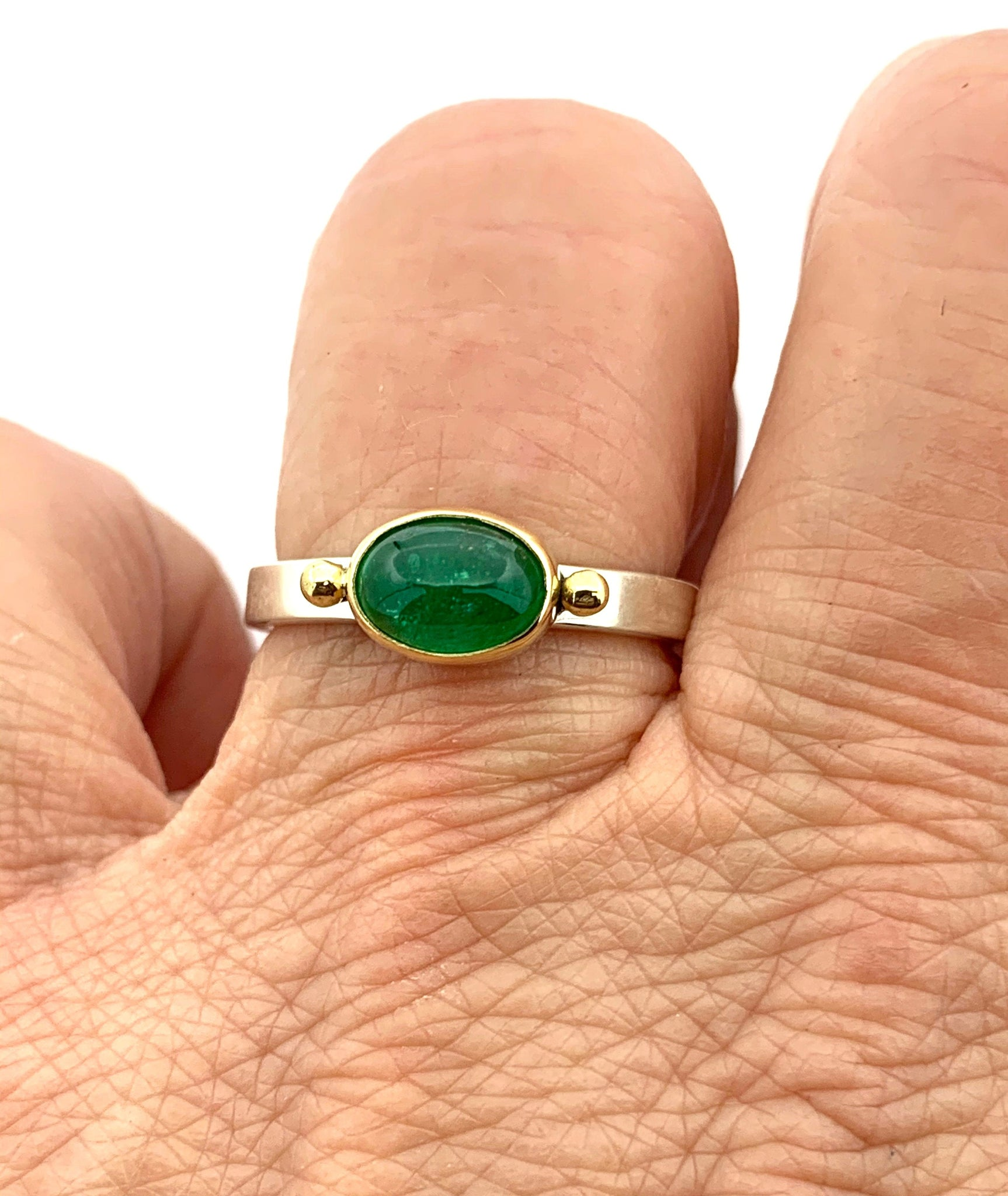 Emerald Ring in Gold and Silver, Emerald Statement Ring, Gemstone Ring, Natural Green Stone Set in 18k Gold, May birthstone ring, Women Ring