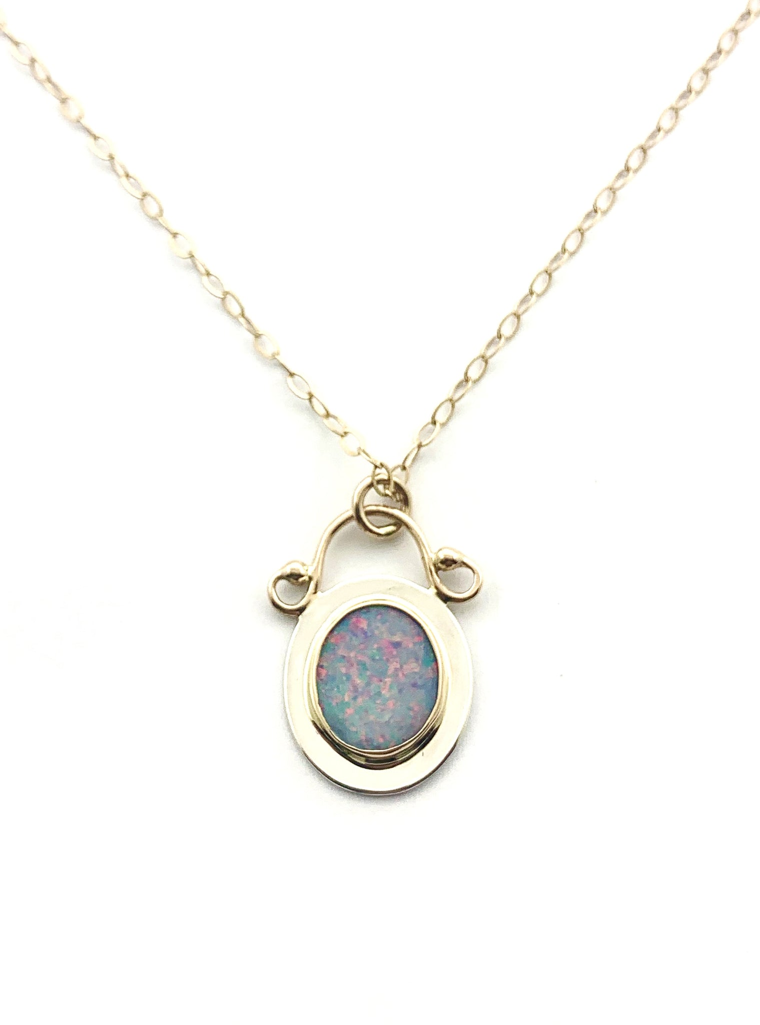 Australian Opal Pendant, Gold and Silver Opal Jewelry, Natural Opal, Womens 14k pendant, October birthstone gift, Ladies Opal necklace