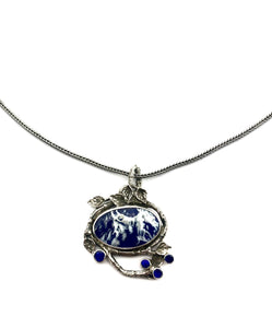 Lapis One of a Kind Necklace in Sterling Silver, Cloud Necklace with Australian Opals, Blue and White Necklace in Sterling Silver