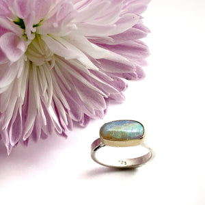 Australian Opal Ring with 14k bezels and Sterling Silver Band,Crystal Opal Ring,Solid Opal Ring in Gold and Silver, OOAK Opal Statement Ring
