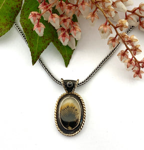 Dendritic Agate set in 14k gold with 14k gold twisted wire, Pendant in 14k gold and silver with black diamond, OOAK Scenic Agate Necklace