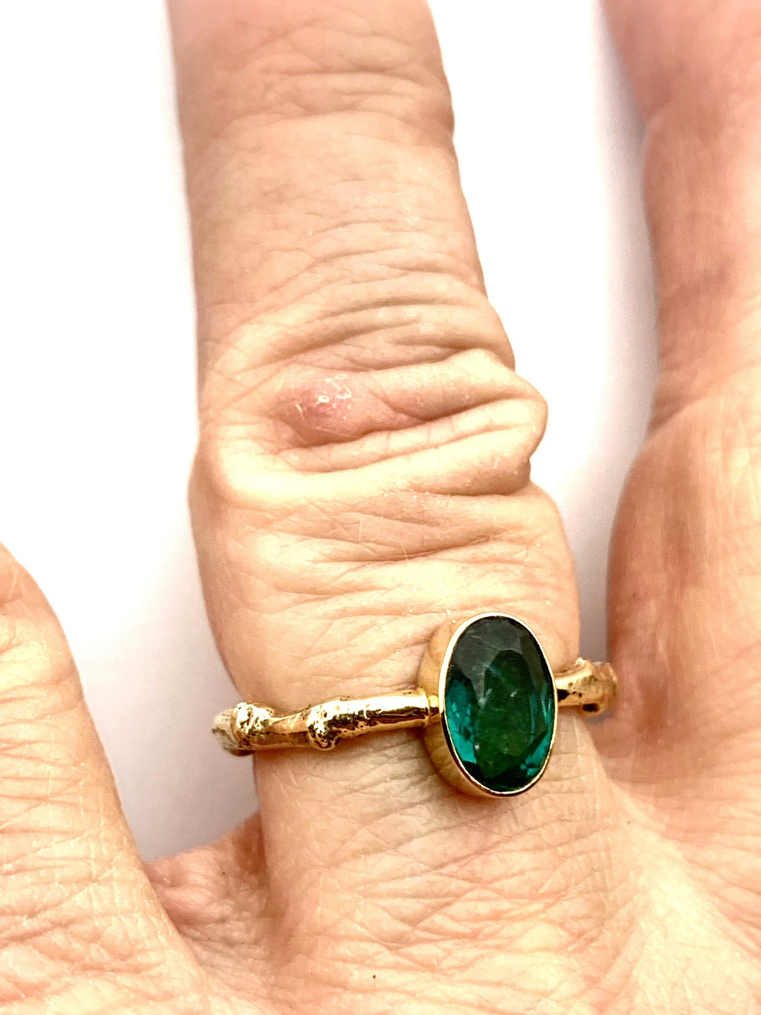 Green Tourmaline Ring 14k Gold, Statement Ring, Friendship Ring, Alternate Engagement Ring, OOAK gold gemstone ring, October Birthstone Ring