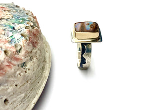 Australian Opal Set in 14k Gold, Scenic Opal in Gold and Silver, Opal Statement Ring, OOAK Opal Ring