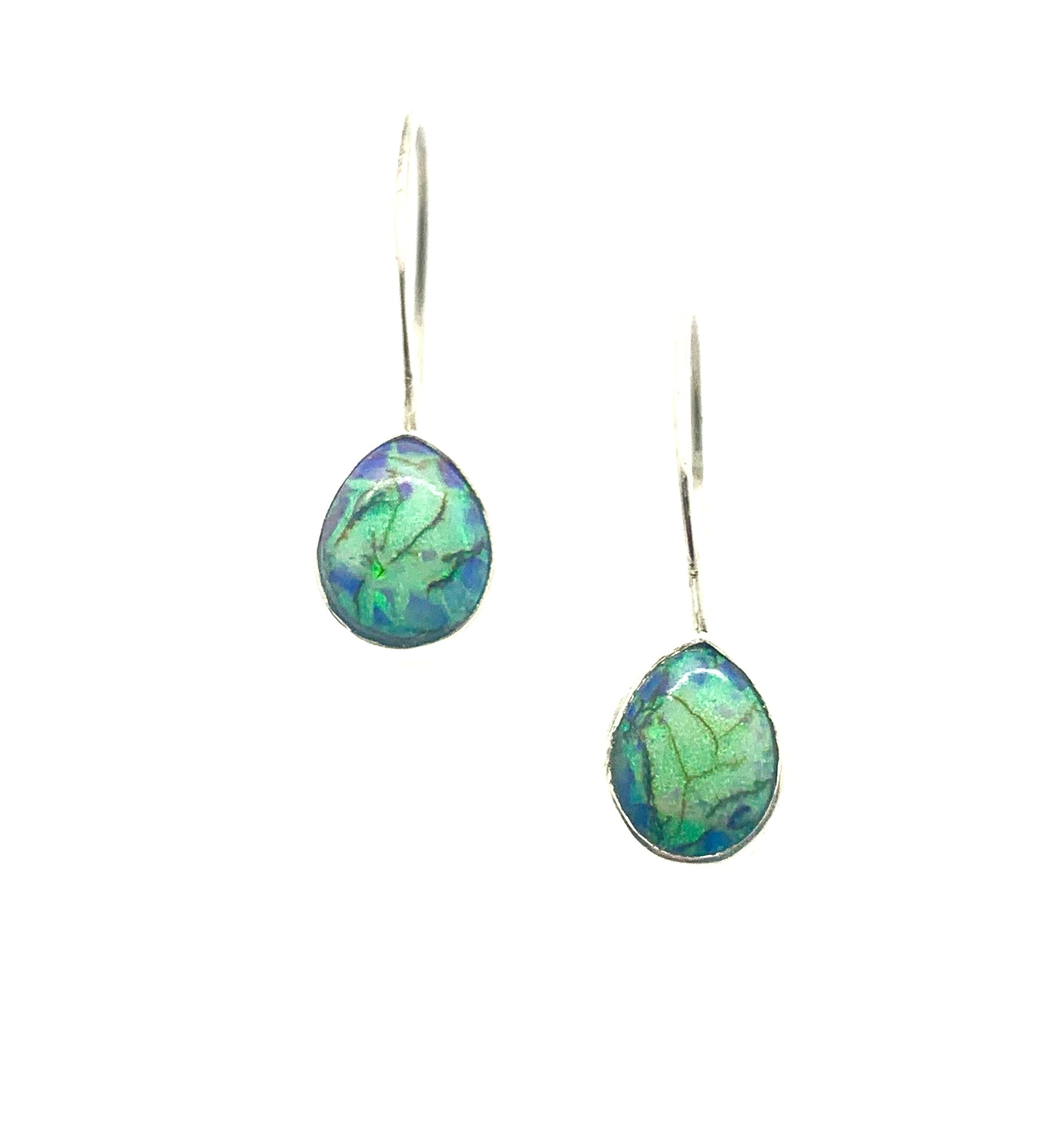 Monarch Opal Earrings, Sterling Opal Earrings, Opal drop Earrings, October birthstone earrings, Blue Stone Jewelry