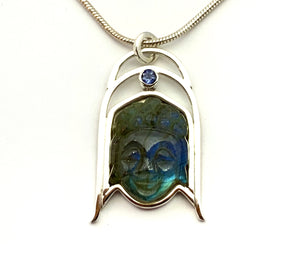 Labradorite Buddha Pendant, Carved Stone Necklace, Labradorite and Tanzanite Pendant, OOAK Natural Stone Pendant in Sterling Silver