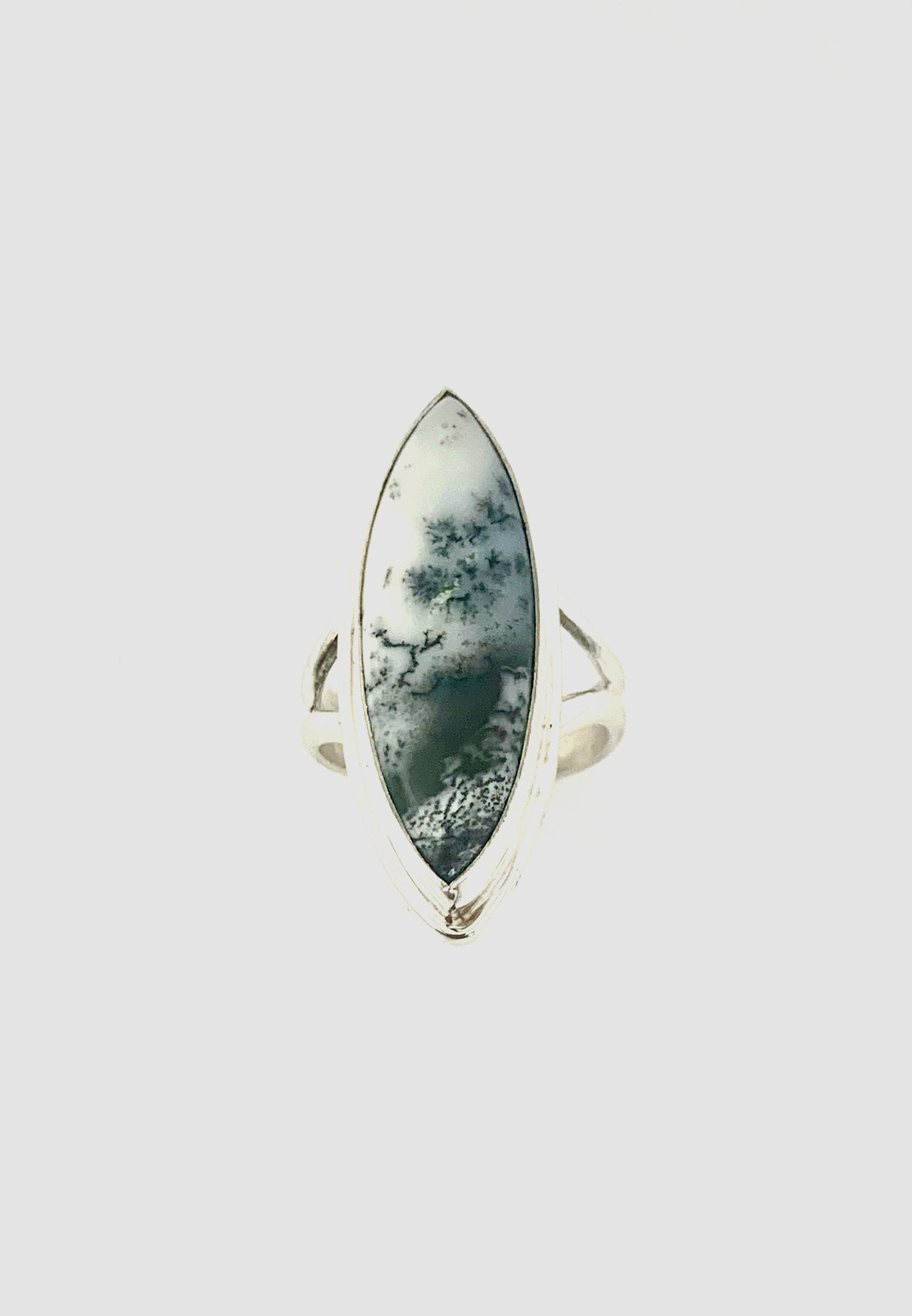 Dendritic Opal Ring, Black and White Stone Ring, Landscape Stone Ring, Womens Statement Ring in Sterling Silver