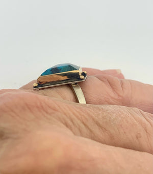 Indonesian Opalized Wood Ring with 14k gold details,  Opal and 14k Gold Ring, Blue Stone Statement Ring