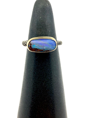 Australian Opal Ring With Peperomia Band,  Opal Ring in 14k and sterling silver, Womens Statement Ring