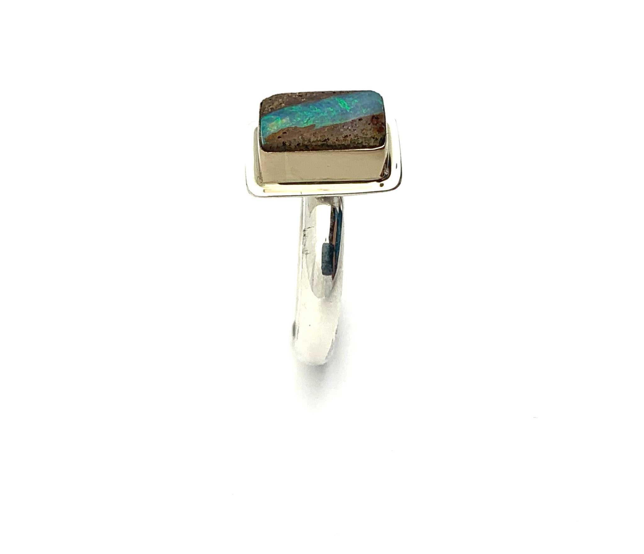Australian Pipe Opal Ring, Gold and Silver Opal Ring, OOAK Opal Statement Ring
