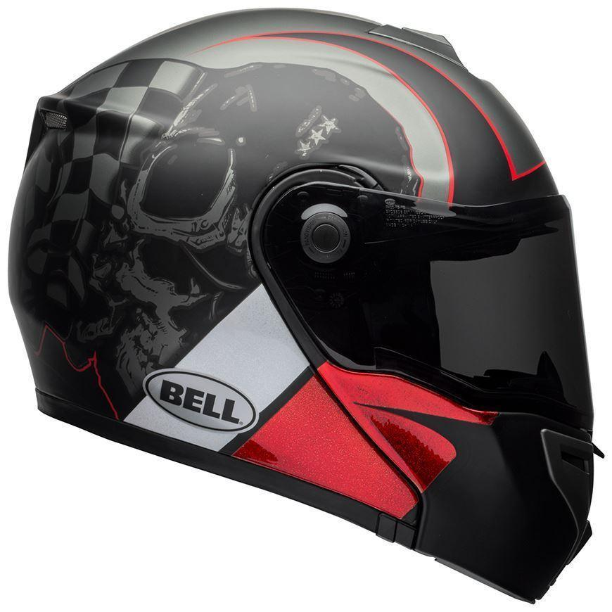 Bell SRT Modular Hart-Luck Gloss Matte Charcoal White Red Skull Helmets