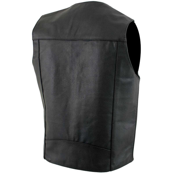 USA Leather 1201 'Club' Men's Black Leather Vest - USA Leather Mens Leather Vests