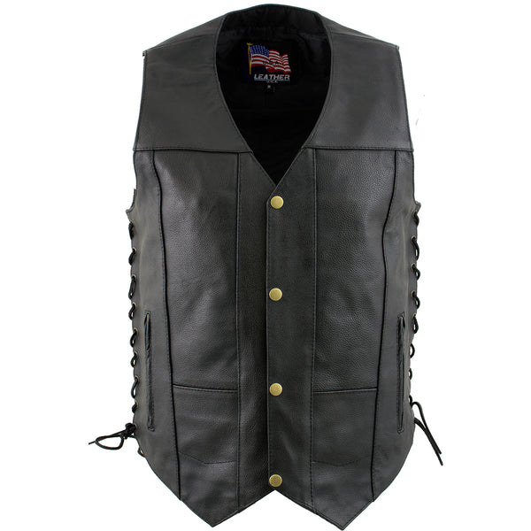 "USA Leather 1204 ""Dime"" Men's Black Classic Leather Ten Pocket Vest with Side Laces"