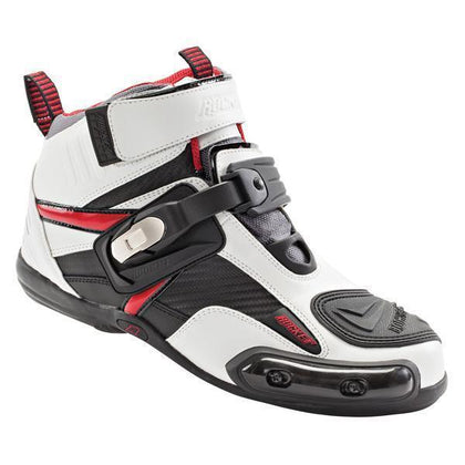 Joe Rocket 'Atomic' Mens White and Red Leather Motorcycle Boots