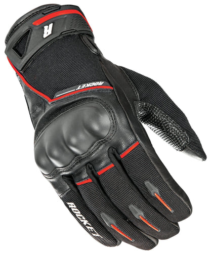 Joe Rocket Super Moto Men's Black/Red Leather Gloves