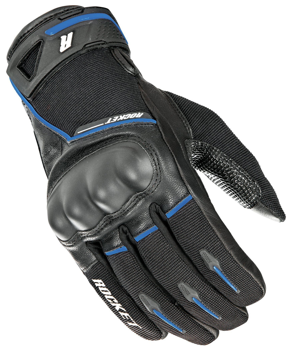 Joe Rocket Super Moto Men's Black/Blue Leather Gloves