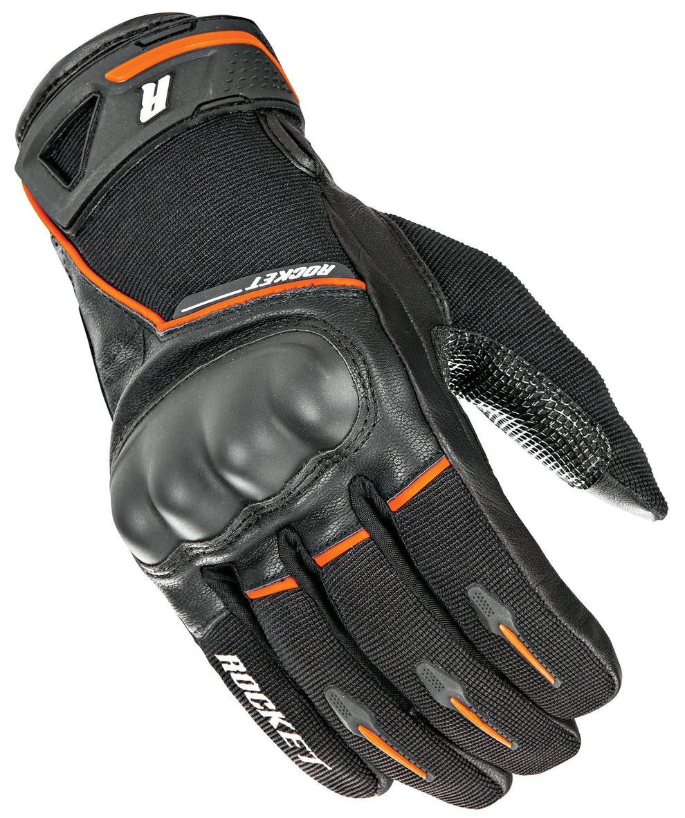 Joe Rocket Super Moto Men's Black/Orange Leather Gloves