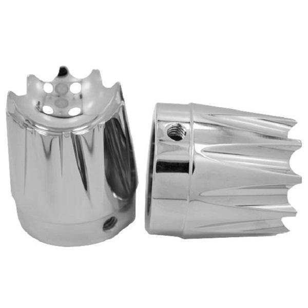 Avon Excalibur 1 in. Chrome Axle Nut Covers for Harley Davidson Road King, Electra Glide, Street Glide