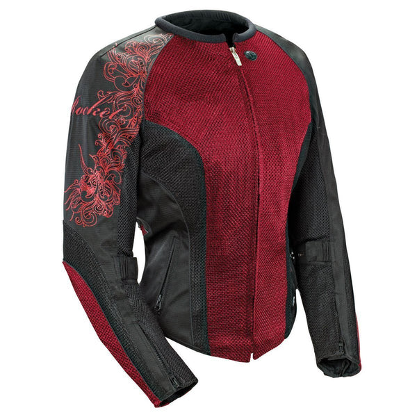 Joe Rocket 'Cleo 2.2' Womens Wine/Black Mesh Motorcycle Jacket