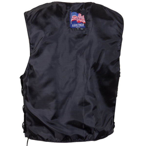 USA Leather 201L Men's Classic Leather Side Lace Vest - USA Leather Mens Leather Vests