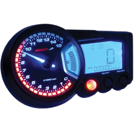 Koso GP Style RX-2 Black Panel Multi-Function Gauge