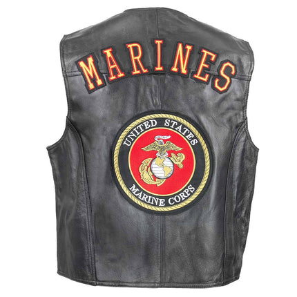 Men's 3002 U.S. Marines Leather Vest Officially Licensed Product