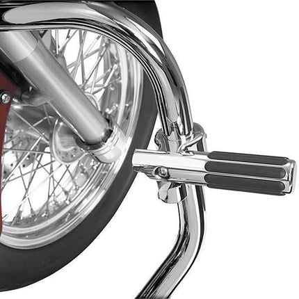 Show Chrome Accessories Billet Highway Clamp with Pivoting Rail Footpeg for 1-1/4 Inch Highway Bars/Engine Guards
