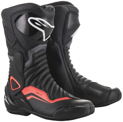 Alpinestars Men's SMX-6 v2 Vented Black, Grey and Fluorescent Red Boots - Alpinestars Boots