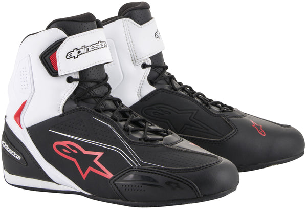 Alpinestars Men's Faster-3 Black, White and Red Riding Shoes - Alpinestars Shoes