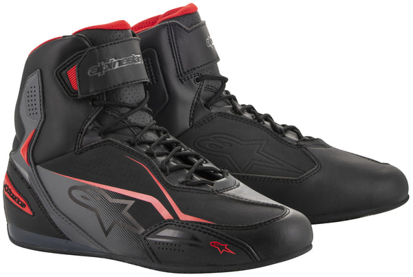 Alpinestars Men's Faster-3 Black, Grey and Red Riding Shoes - Alpinestars Shoes