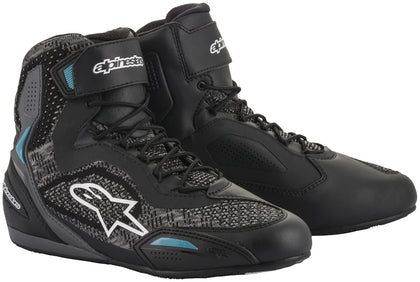 Alpinestars Women's Stella Faster-3 Rideknit Black and Teal Riding Shoes - Alpinestars Shoes